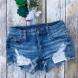 AE Next Level Stretch Destroyed Lace Jean Shorts